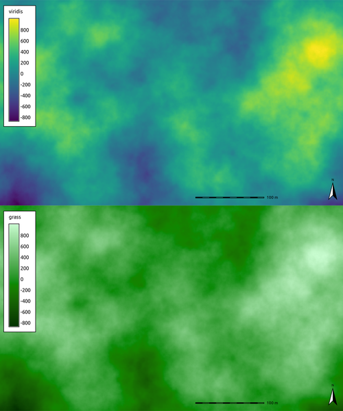 viridis and grass color tables applied to output of r.surf.fractal
