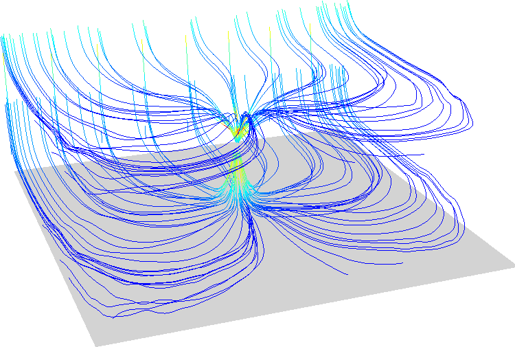 flow lines colored by velocity