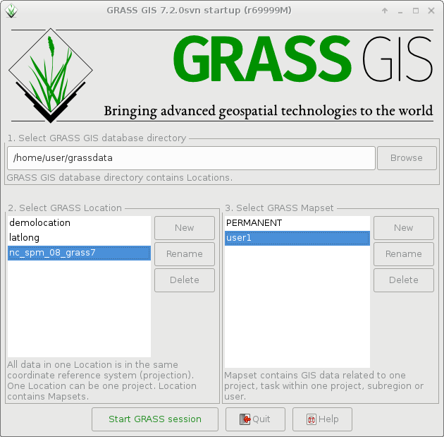 Startup screen of GRASS GIS 7.2.0