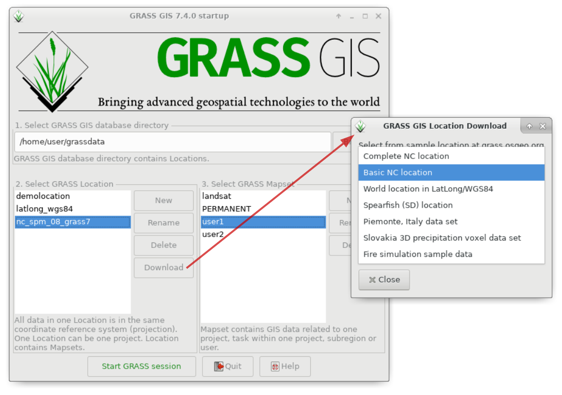 Startup of GRASS GIS 7.4.0 with sample data download