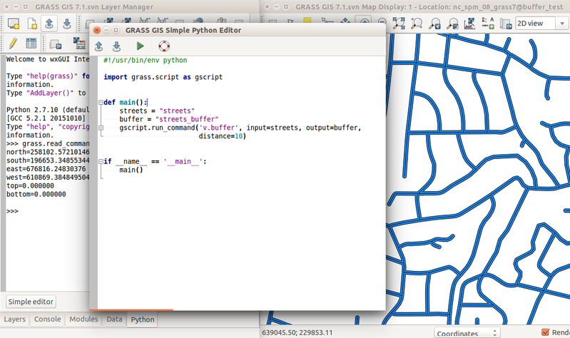 Simple Python editor in GRASS GIS wxGUI with v.buffer example