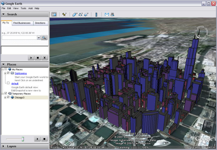 Screenshot of KML with extrusion in Google Earth