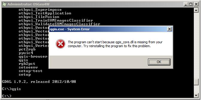 358 (Cannot start QGIS from OSGeo4W terminal - qgis_core dll