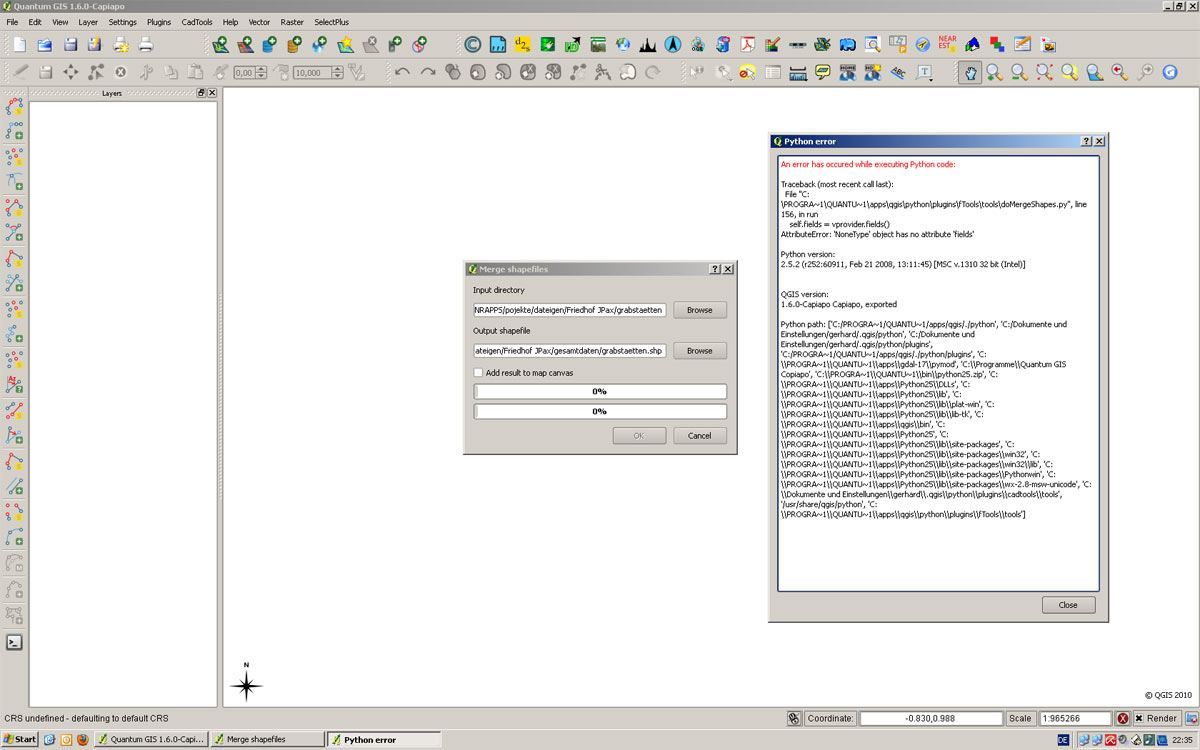 3317 (ftools, datamanagement, merge to one crash qigs 1 6) – QGIS