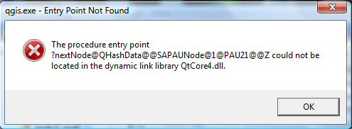 3368 (QGIS 1.6.0 won\u0027t run: QHashData in QtCore4.dll on Windows